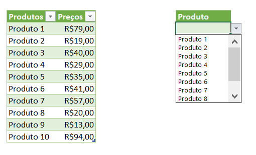 Exemplo de Lista Suspensa no Excel