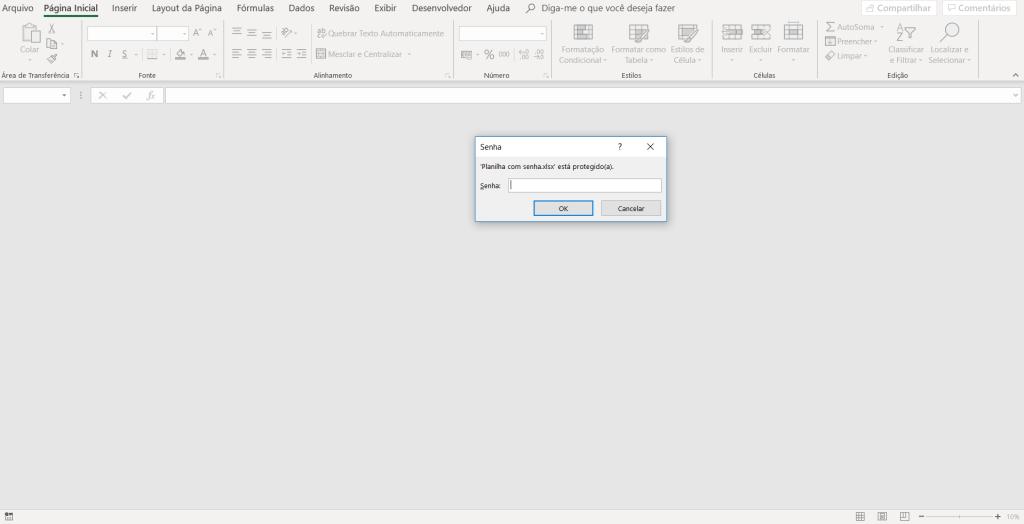 Solicitação de senha - Proteger Planilha Excel