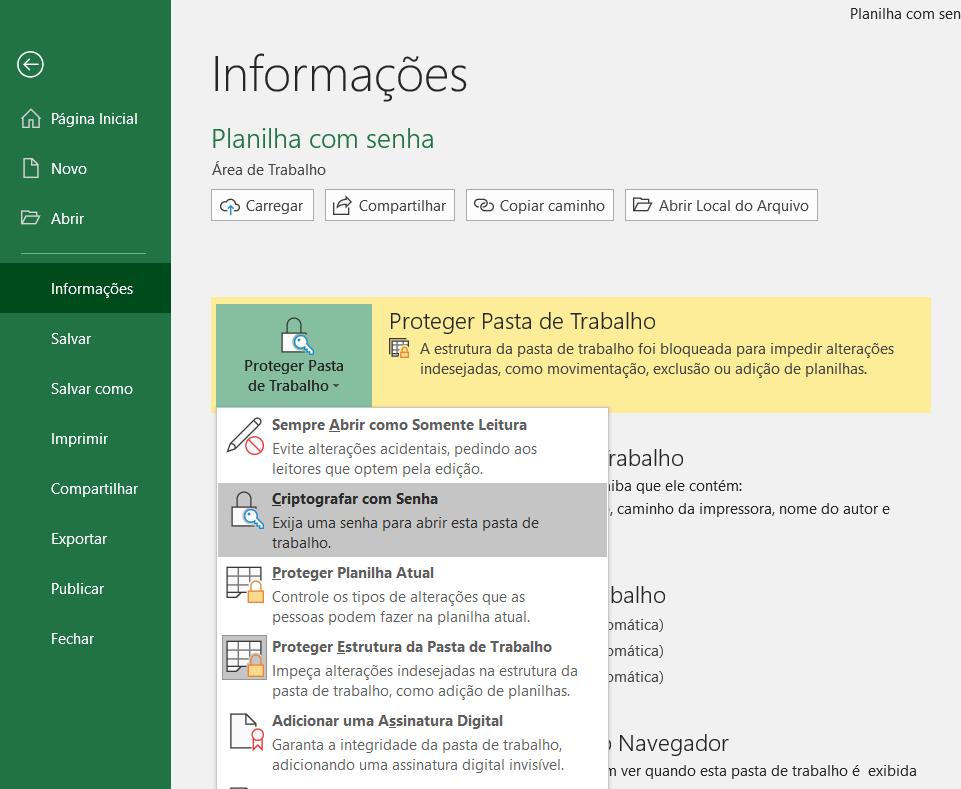 Criptografar com Senha - Proteger Planilha Excel